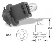 12V 1.2W BAX frosted, white