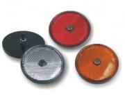 Reflector 60mm round amber w.screw