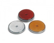 Reflector 80mm round red w.hole