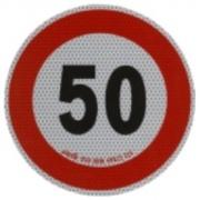 Samolepka konštr. rýchlosti 50km reflexná tr. 2